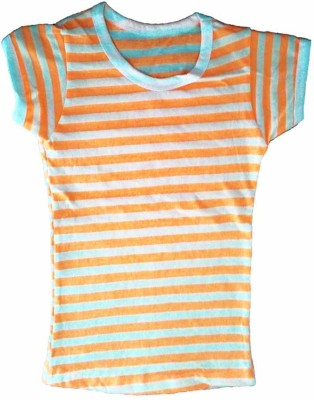 Cool Baby Striped Girls Round Neck Orange T-Shirt