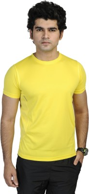 T10 Sports Solid Men's Round Neck Yellow T-Shirt