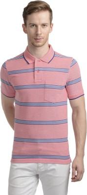 WRIG Striped Men's Polo Neck Pink T-Shirt