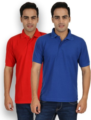 Larwa Solid Men's Polo Neck Red, Blue T-Shirt