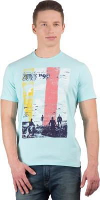 Wilkins & Tuscany Printed Men's Round Neck Light Blue T-Shirt