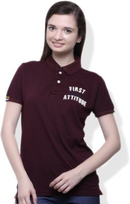 GOINDIASTORE Solid Women's Polo Brown T-Shirt
