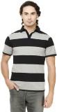 Rigo Striped Men's Polo Neck Black T-Shi...