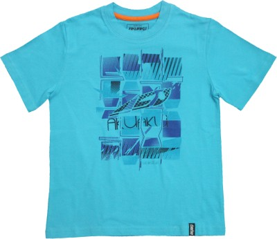 Mankoose Printed Boy's Round Neck Blue T-Shirt