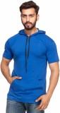 Demokrazy Solid Men's Hooded Blue T-Shir...