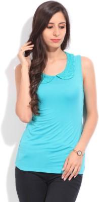Arrow Solid Women's Round Neck Blue T-Shirt