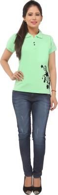 Run of luck Solid Women's Polo Light Green T-Shirt