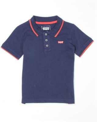 Levi's Solid Boy's Polo Neck Dark Blue T-Shirt