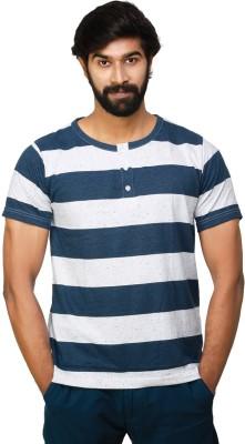 0EM Striped Men's Henley White, Blue T-Shirt