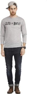 Cali Republic Printed Men's Round Neck Grey, Black T-Shirt