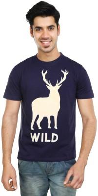 Algotton Printed Men,s Round Neck Dark Blue T-Shirt