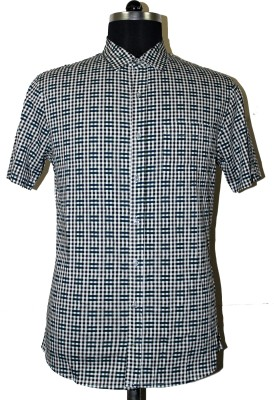 Ashri Checkered Men's Polo Neck Black, Green T-Shirt
