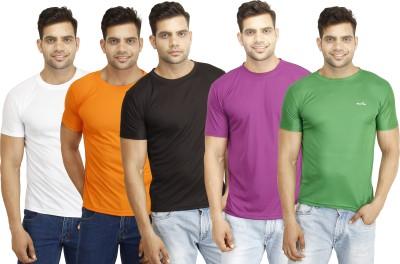 Eprilla Solid Men,s Round Neck Black, White, Green, Orange, Purple T-Shirt