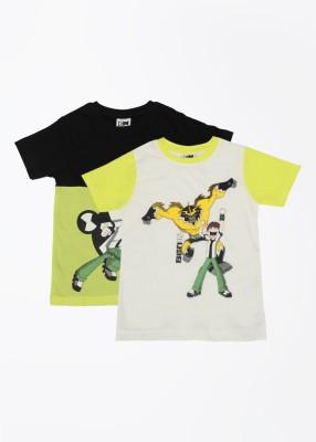 Cherish Printed Boy,s Round Neck White, Black, Yellow T-Shirt