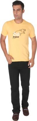 Tohfaa Printed Men's Round Neck Yellow T-Shirt