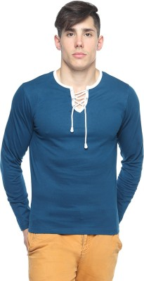 Pepperclub Solid Men's Round Neck Blue T-Shirt