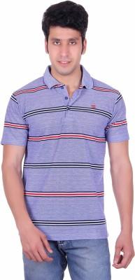 Deutz Striped Men's Polo Neck Blue T-Shirt