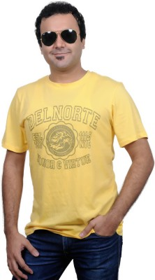 Jonny Blaze Graphic Print Men's Round Neck Yellow T-Shirt
