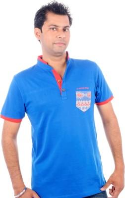 All Ruggby Printed Men's Mandarin Collar Blue T-Shirt