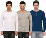 DNA Solid Men's Henley White, Grey, Dark...