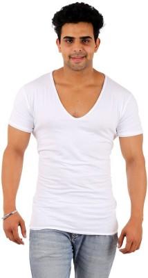 Male Basics Solid Men's Scoop Neck White T-Shirt