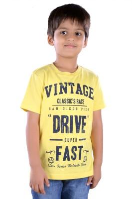 Colsa Printed Boy's Round Neck Yellow T-Shirt
