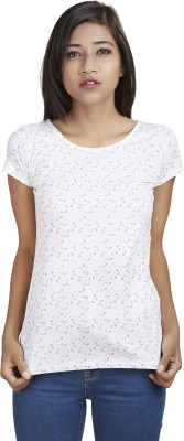 Defossile Printed Women's Round Neck Multicolor T-Shirt