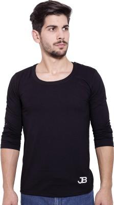 Jangoboy Solid Men's Round Neck Black T-Shirt