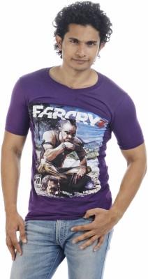 Adventure Printed Men's V-neck Purple T-Shirt