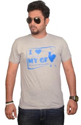 College Jugaad Printed Men's Round Neck Grey T-Shirt
