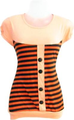 Revinfashions Solid Women's Round Neck Orange T-Shirt