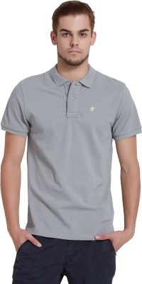 Breakbounce Solid Men's Polo Neck Grey T-Shirt