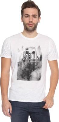 883 Police Self Design Men's Round Neck White T-Shirt