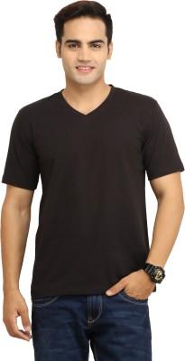 WallWest Solid Men's V-neck Black T-Shirt