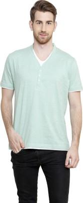 Freak,N by Cotton County Striped Men's V-neck Green T-Shirt
