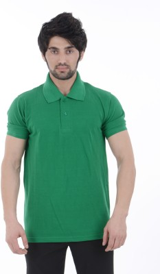 Burdy Solid Men's Polo Neck Green T-Shirt