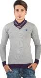 Igsmart Self Design Men's V-neck Grey T-...