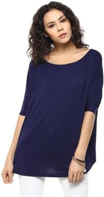 Femella Solid Women's Boat Neck Blue T-Shirt