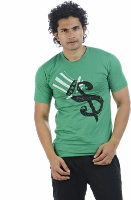 Adventure Printed Men's Round Neck Green T-Shirt