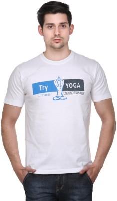 Friends of Meditation Printed Men's Round Neck White T-Shirt