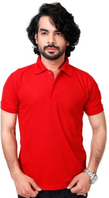 Elligator Solid Men's Polo Neck Red T-Shirt