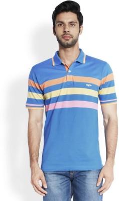 ColorPlus Striped Men's Polo Neck Blue T-Shirt