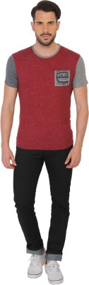 Being Human Clothing Solid Men's Round Neck Red T-Shirt