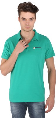 Caricature Solid Men's Polo Neck Green T-Shirt