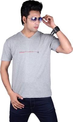 Vivid Bharti Printed Men's V-neck Grey T-Shirt
