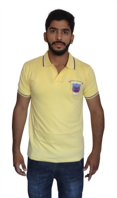Uniqe Solid Men's Polo Neck Yellow T-Shirt