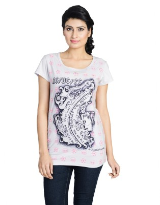 Total Football Printed Women's Round Neck Grey T-Shirt