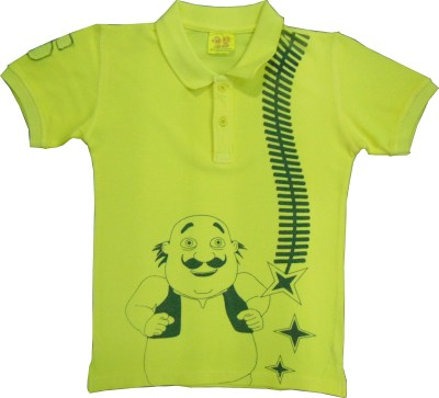 Motu Patlu Solid Boy's Polo Neck T-Shirt
