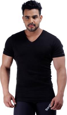 Male Basics Solid Men's V-neck Black T-Shirt