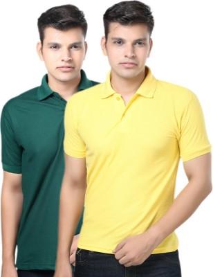 eSOUL Solid Men's Polo Neck Dark Green, Yellow T-Shirt